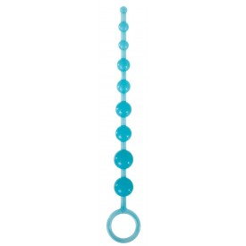 Голубая анальная цепочка-елочка Pleasure Beads - 30 см.