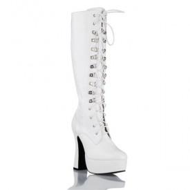 Высокие сапоги на устойчивом каблуке и шнуровке